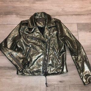 BlankNYC Crystallized metallic Moto jacket S